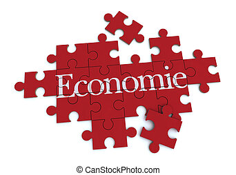 Red Economie puzzle - 3D rendering of a forming puzzle with...