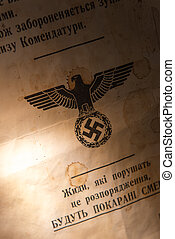 Old world war document - Old stained World War document in...
