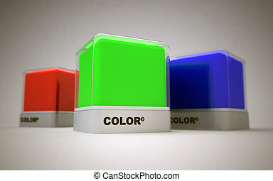 Basic colors design - Blocks of RGB basic printing colors;...