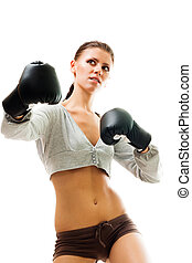 Strong confident woman boxing