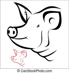 Pig head - Vector illustration : Pig head on a white...
