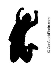 Asia man pose silhouette actions  in studio isolated on white ba