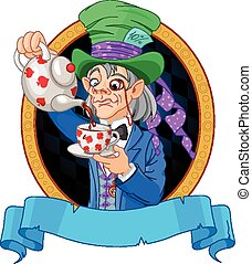 Mad Hatter design - Mad Hatter pours tea design