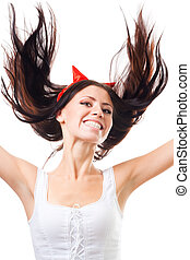 woman fall to hell - Positive woman falling with her hair...