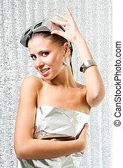 Hi-tech woman - Hi-tech futuristic beautiful woman in silver...