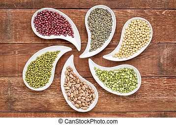 beans, lentils and pea abstract - variety of beans, lentils,...