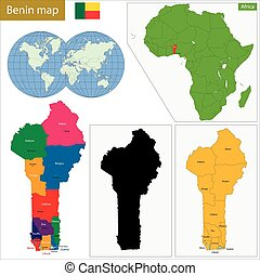 Benin map - Administrative division of the Republic of Benin