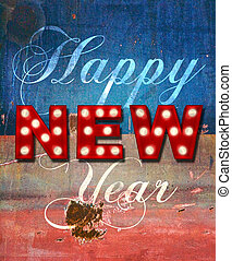 Glowing New Year greetings over distressed paint - Grunge...