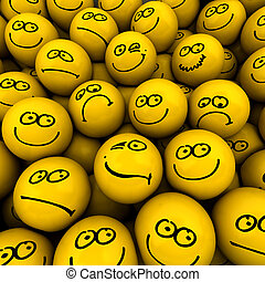 Emotion crowd - Yellow icons with different facial...