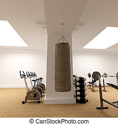 Punching-bag at the club - 3D-rendering of a gymnasium...