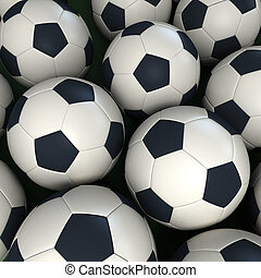 soccer balls - Lots of soccer balls together forming a...