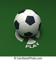 Play soccer - Soccer ball against a green background with...