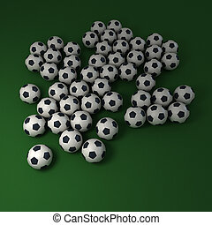 Soccer background - Soccer balls against a green background