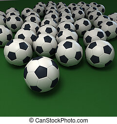 Soccer passion - Soccer balls against a green background