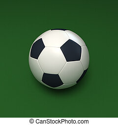 Soccer ball against green background - 3D rendering of a...