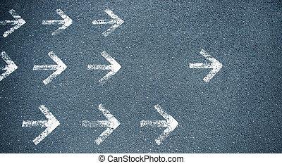 blanco, flechas, B,