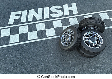 Finish line - 3D rendering of wheels by a motor race circuit...