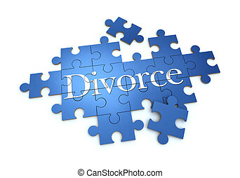 Divorce puzzle - 3D rendering of a puzzle with the word...