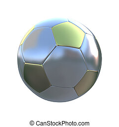Silver and gold soccer ball against a white background