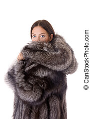 girl in a fur coat - Portrait of the beautiful girl in a fur...