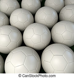 Background of white soccer balls - Lots of soccer balls...