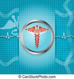 Abstract medical background with caduceus medical symbol EPS...