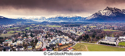 city - Fantastic view of the historic city of Salzburg...