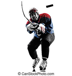 Ice hockey man player silhouette - one caucasian man ice...