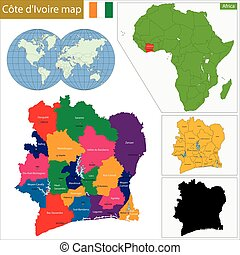 Ivory Coast map - Administrative division of the Republic of...
