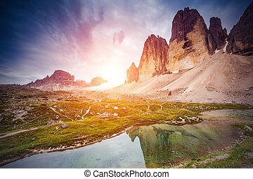 lake in the mountains - Great view of the sunny Lago Rienza...