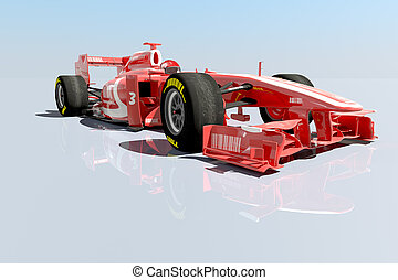 Racing car - 3D rendering of a Race car with fake logos