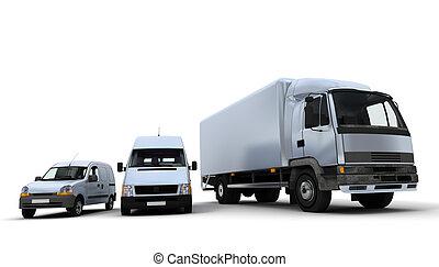 Transportation fleet in white - 3D rendering of a truck, a...