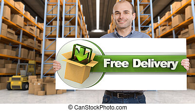 Free delivery, man with sign - A man holding a Free delivery...