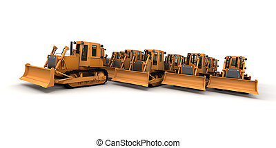 Frontal view of a big group of bulldozers against a white...