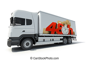 48 hrs delivery, truck - Trailer truck with a sign...
