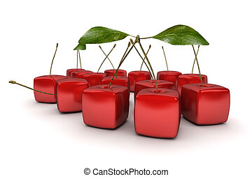 Group of cubic cherries - 3D rendering of a group of cubic...