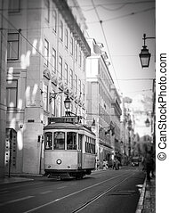 Tram in Lisbon, retro - Retro style shot of a tramway in...