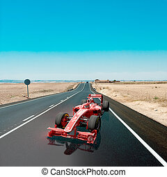 Racing car on the road - 3D rendering of a race car on a...