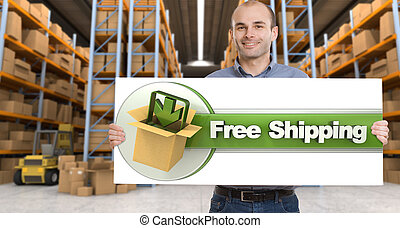 Free shipping, man with sign - A man holding a Free shipping...
