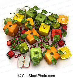 Fresh cubic fruits - 3D rendering of a selection of cubic...