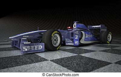 Race car checker - Race car with fake logos in a checkered...