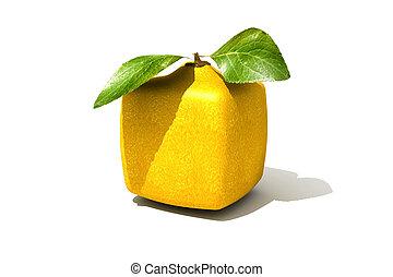 Cubic lemon - 3D rendering of a cubic lemon on a white...