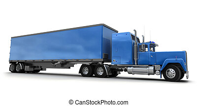 Lateral view of a big blue trailer truck against white...