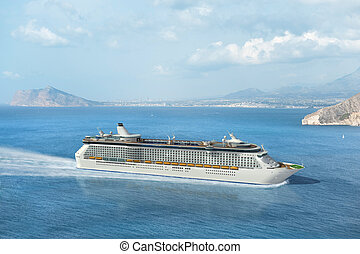 Mediterranean cruise ship - Cruise ship sailing on the...