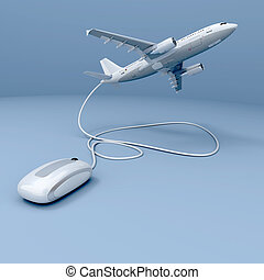 Online take off - 3D rendering of a flying airplane...