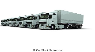 Eight white trucks in a row - 3D rendering of eight white...