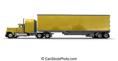 Lateral view of a big yellow trailer truck against white...