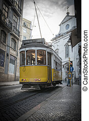 Yellow tramway in Lisbon - Vintage yellow tramway in the...
