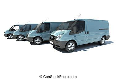 Van fleet in blue grey - 3D rendering of a line of 4...