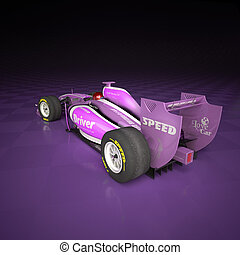 Racecar lilac - Race car with fake logos in a checkered...